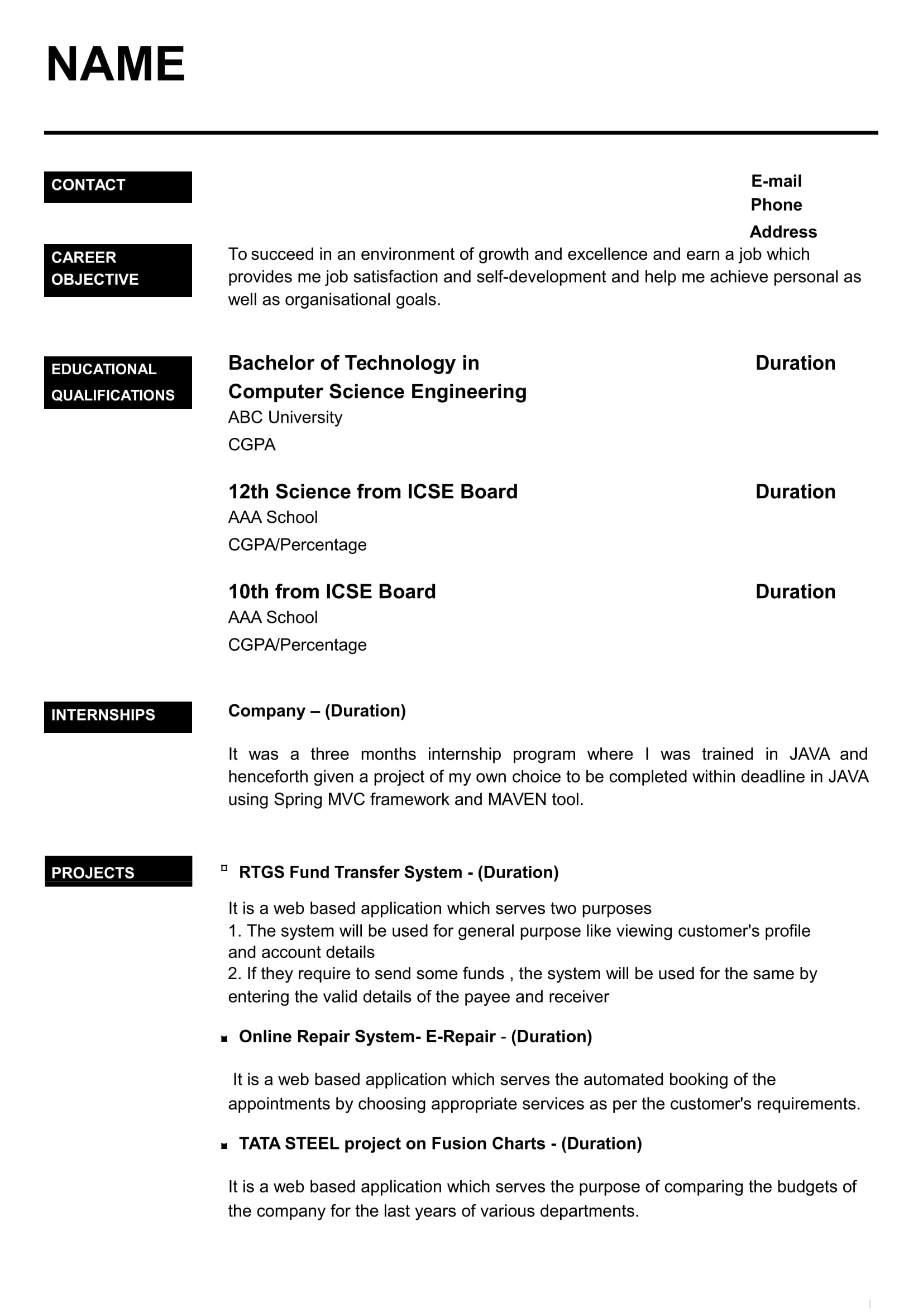 resume format sample for fresher