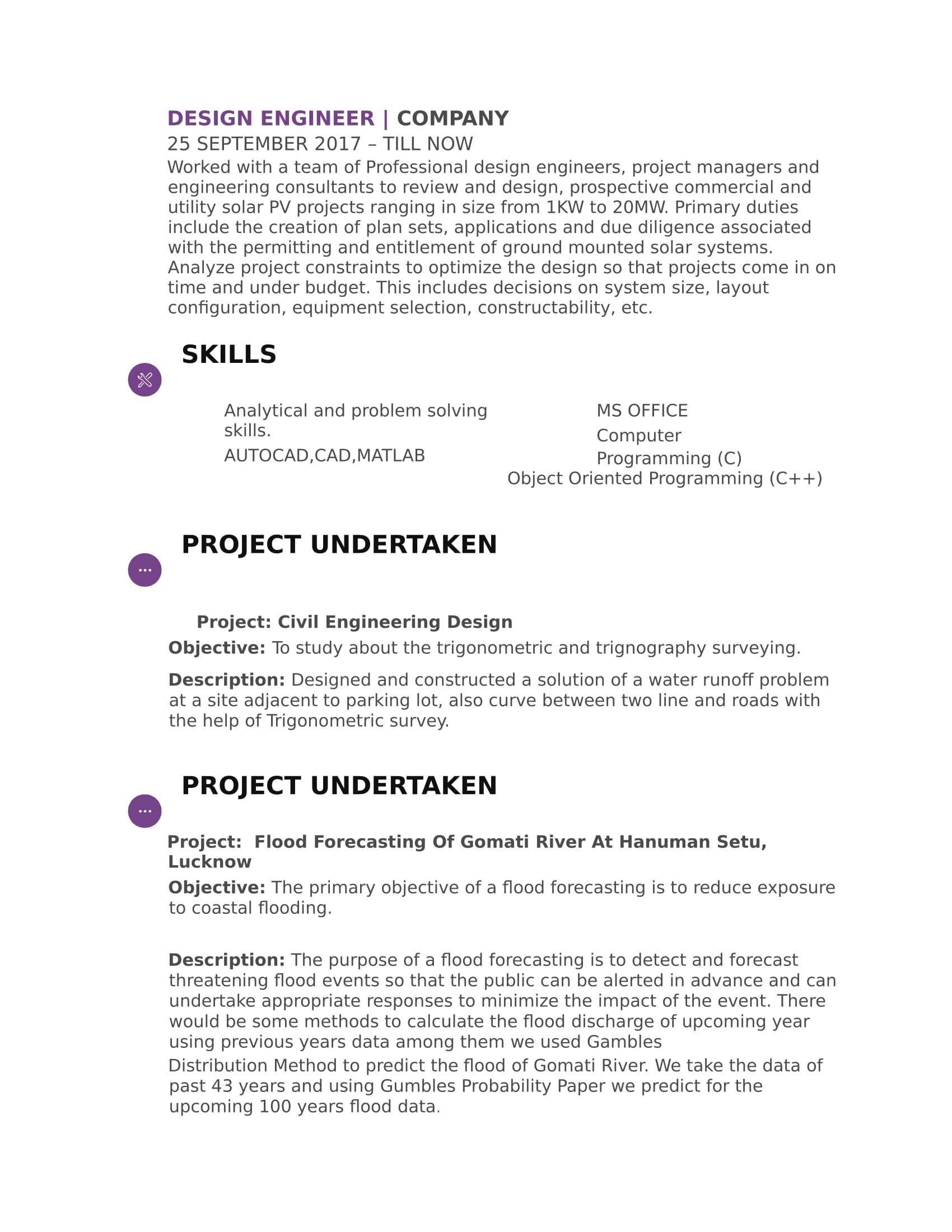 resume templates for civil engineer freshers