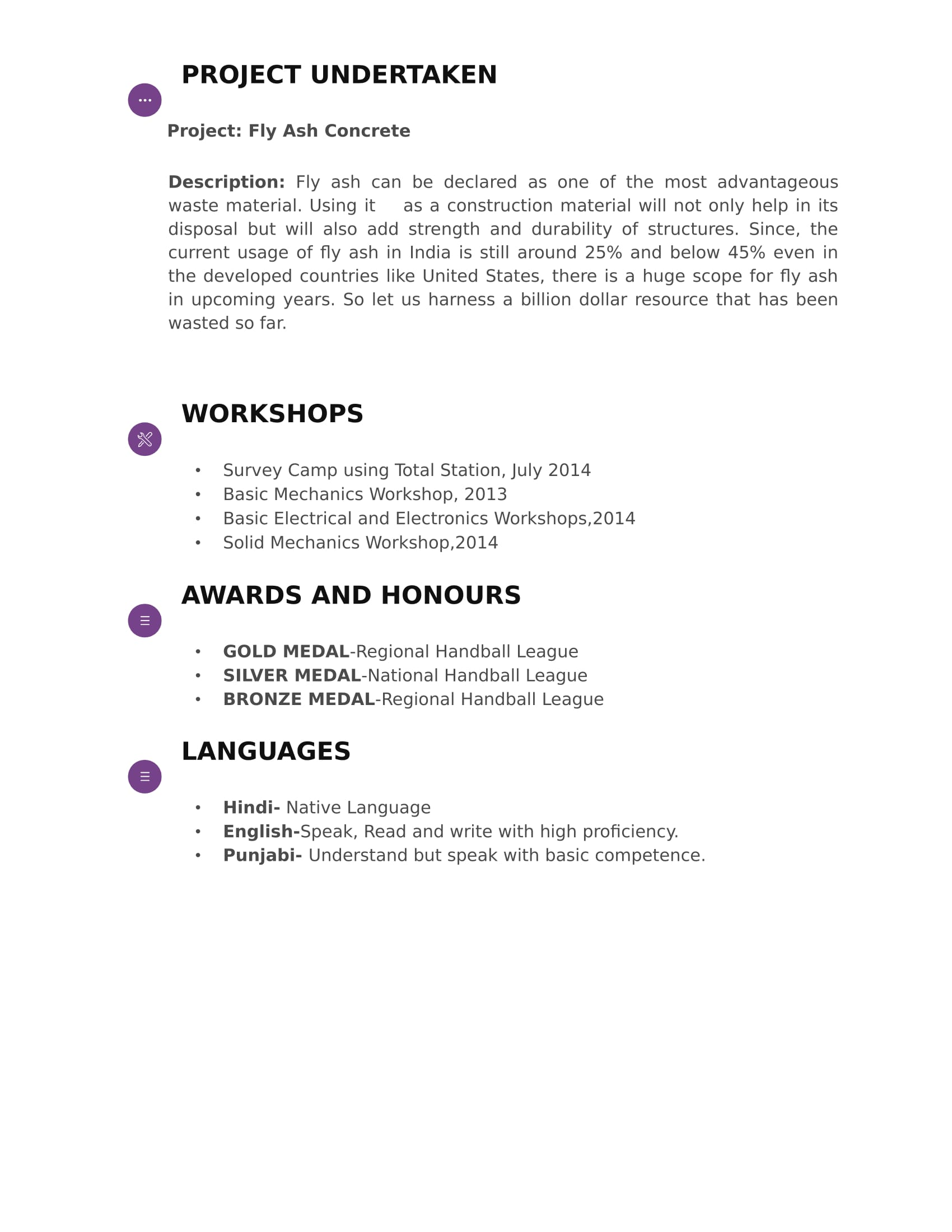 Resume Templates For Civil Engineer Freshers - Download Free