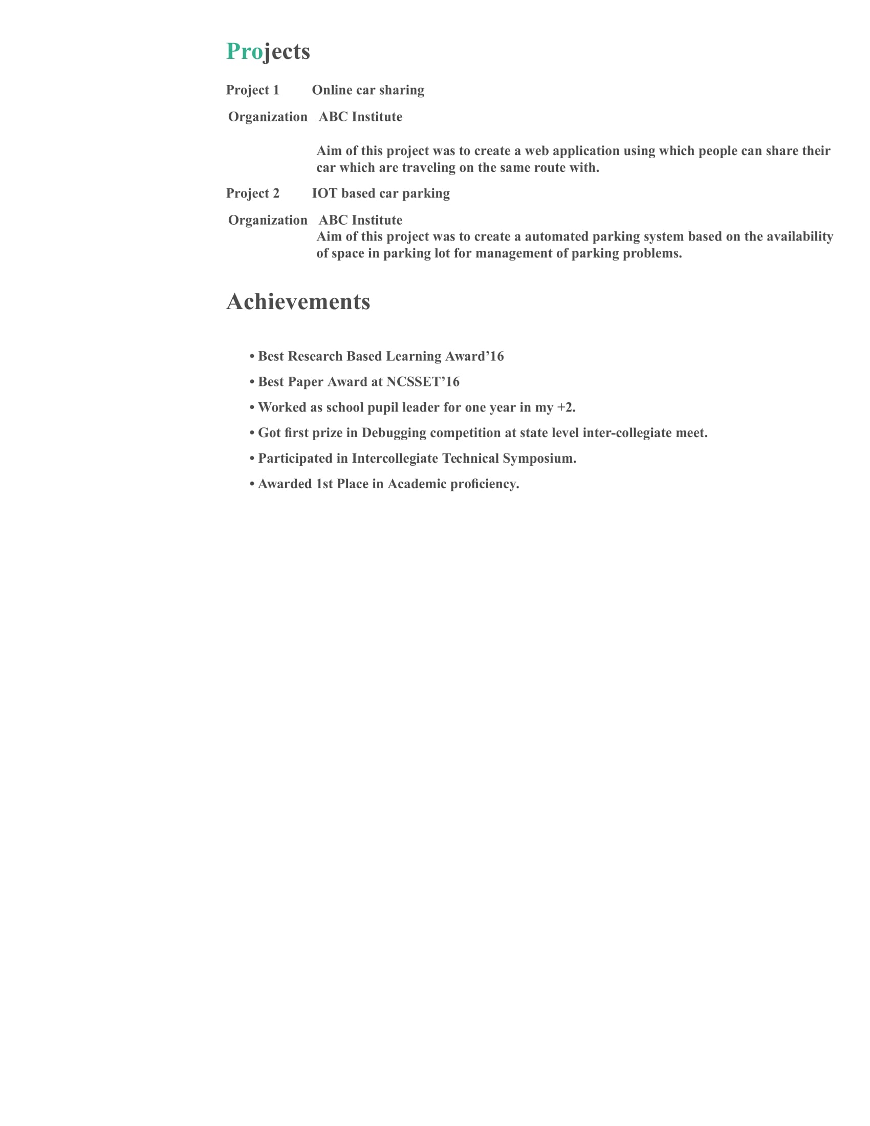 Resume Templates For Computer Science Engineer Freshers