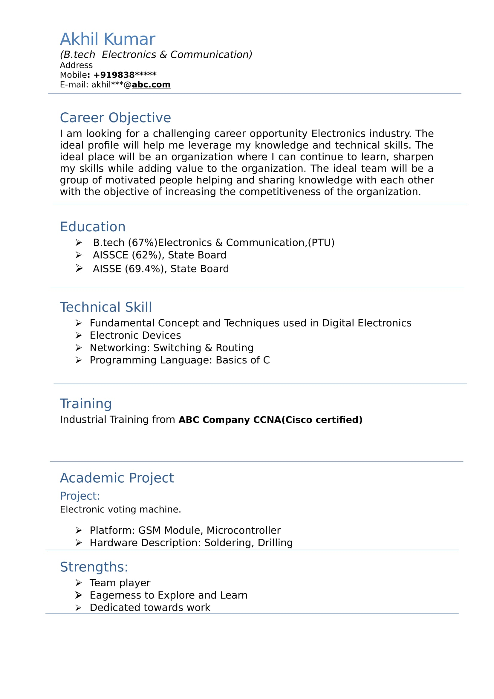 resume templates for electronics and communication