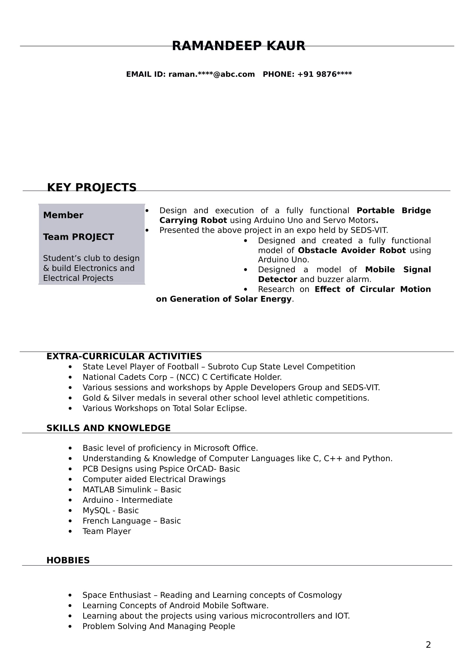 Resume Templates For Electrical Engineer Freshers - Download