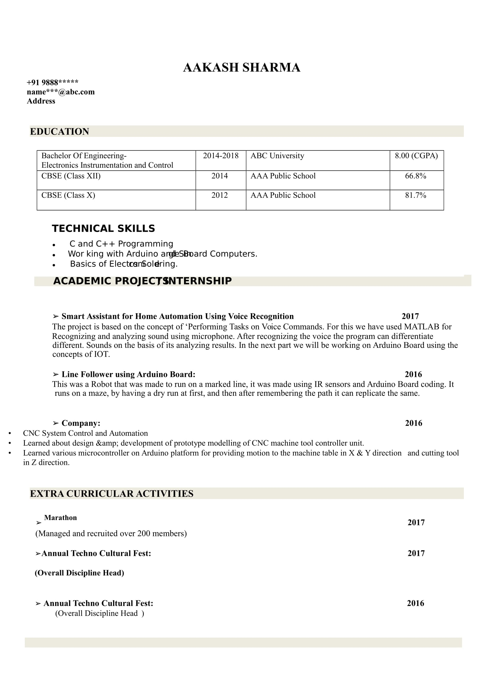 resume templates for electronics and instrumentation