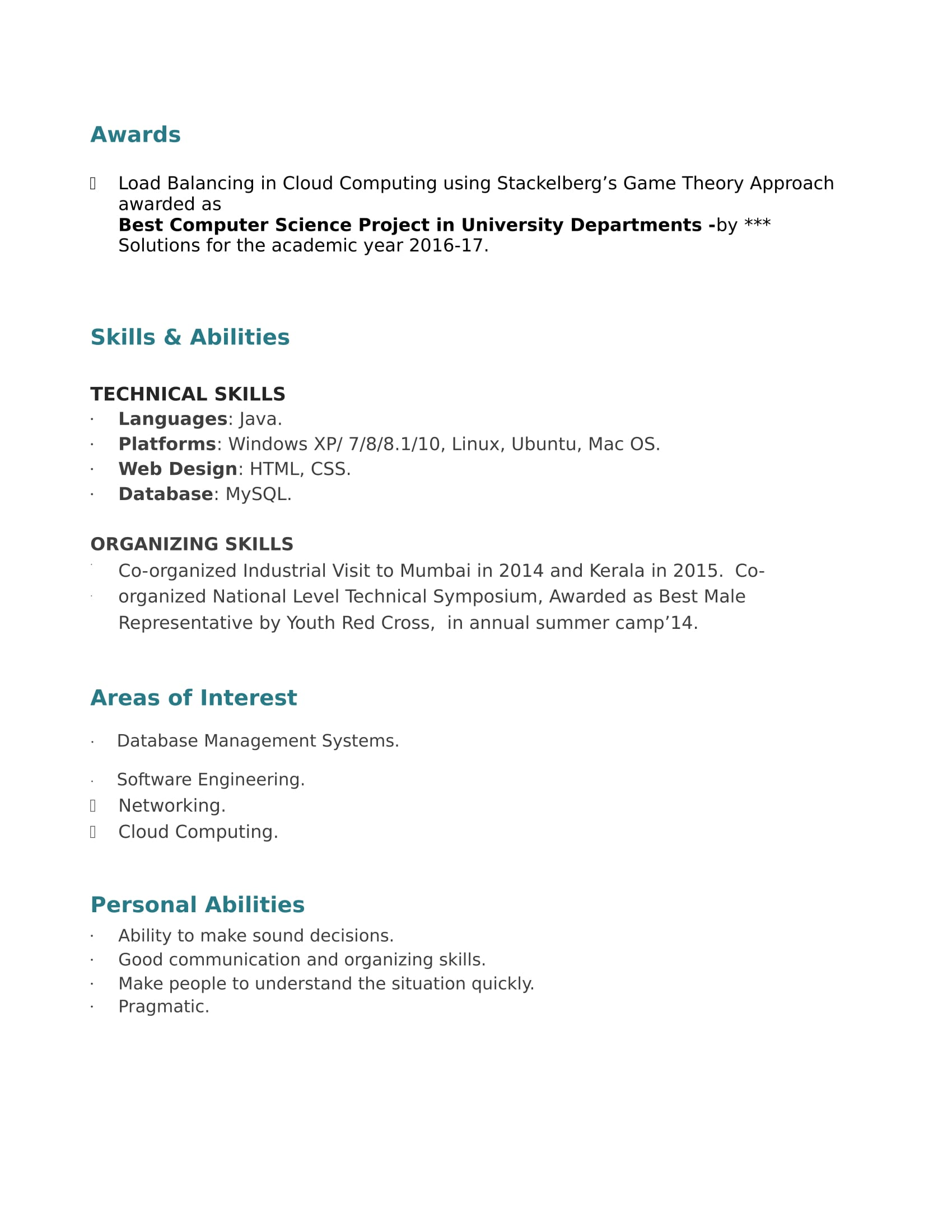 Resume Templates For IT Engineer Freshers - Download Free