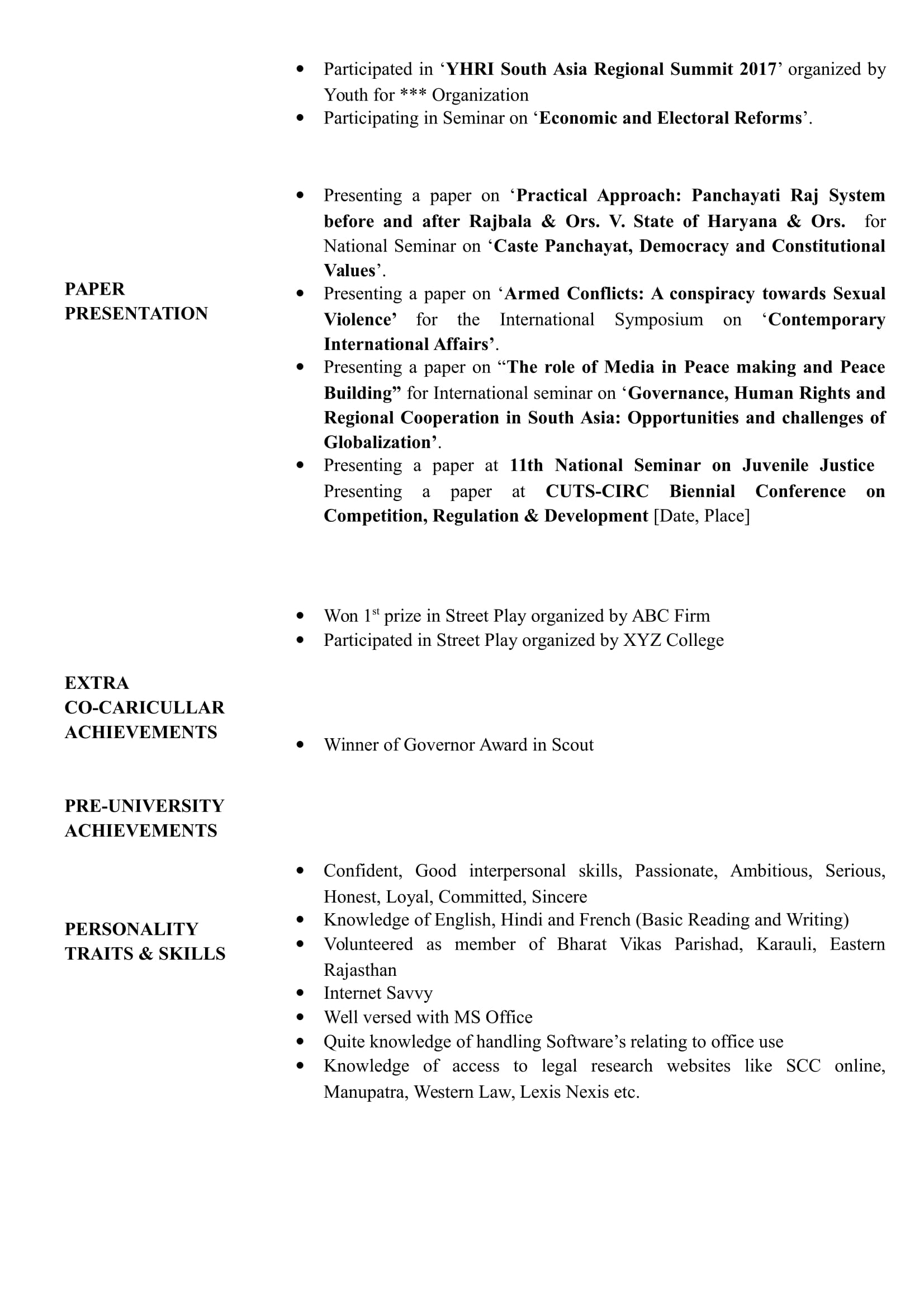Resume Templates For BBA Law Freshers - Download Free