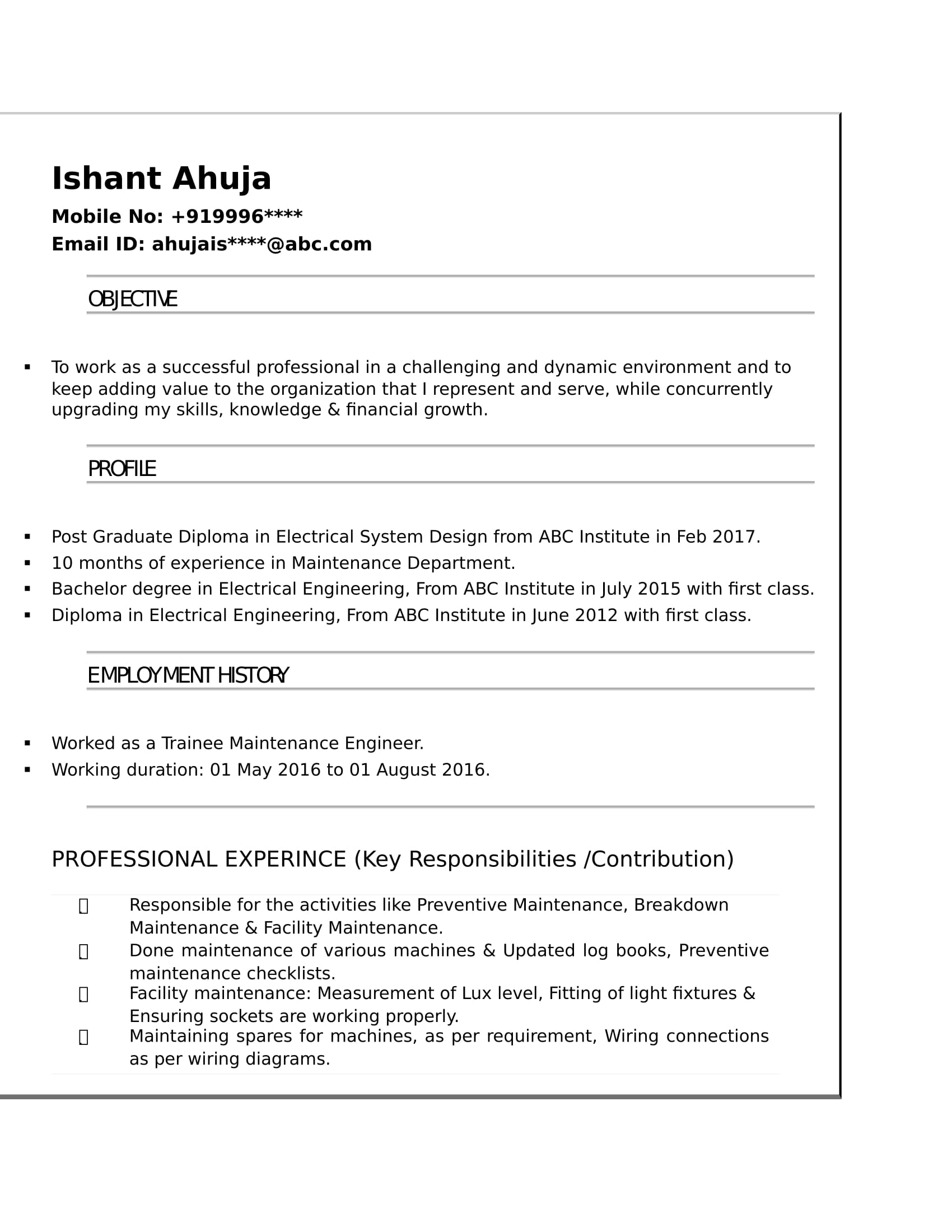 resume templates for electrical engineer freshers