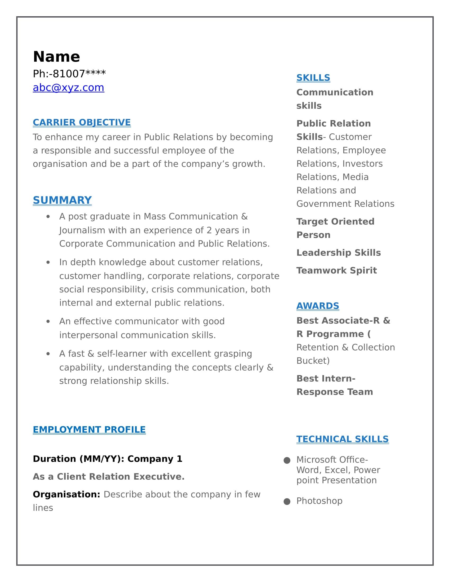 Resume Templates For Mass Communication Freshers