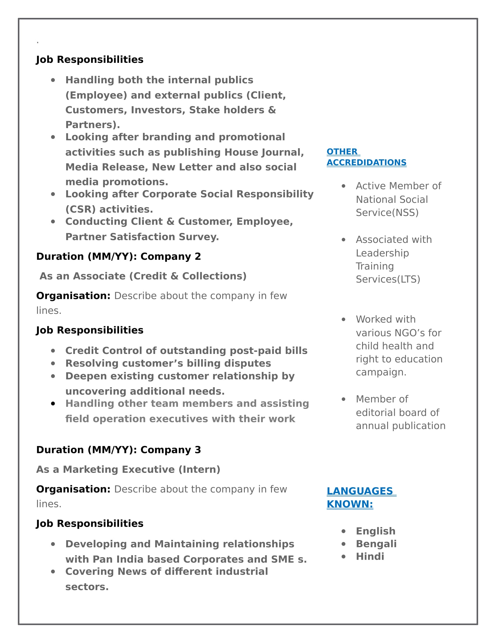 resume templates for mass communication freshers