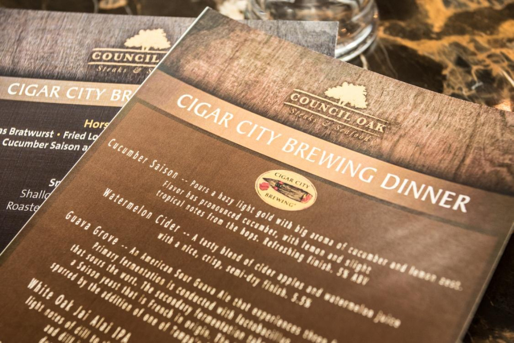 Cigar City Brewing Dinner at Council Oak Lounge | Seminole Hard Rock Hotel & Casino Tampa | July 16, 2015
