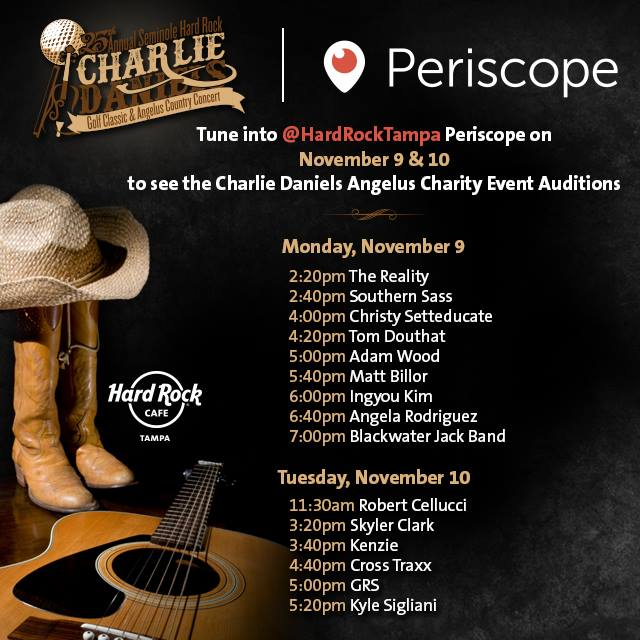 Eight Local Musicians Chosen to Participate in Charlie Daniels Angelus Country Concert Weekend | Seminole Hard Rock Hotel & Casino Tampa