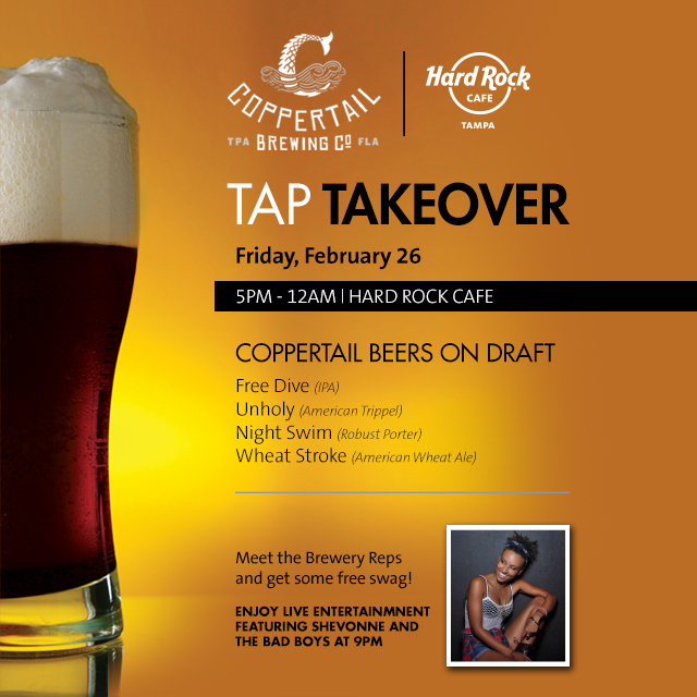 Coppertail is Taking Over the Taps at the Hard Rock Cafe Tampa for an Evening of Craft Beer & Local Live Music