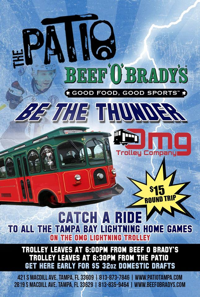 Catch The Trolley From The Patio Or Beef Ou0027 Bradyu0027s Down The Street At  Bay To Bay After Getting Your Pre Game Face On With Drinks Specials!