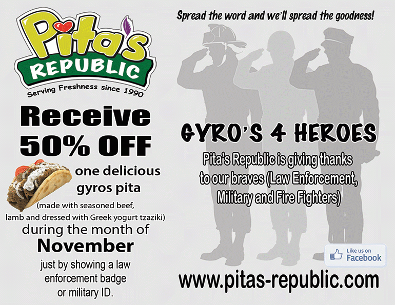 Gyro's 4 Heroes + Eat Fresh at Pita's Republic before the Holiday Binge