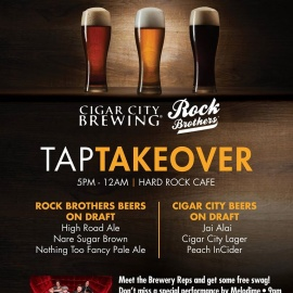 Rock Brothers Brewery & Cigar City Brewing Are Taking Over the Taps at the Hard Rock Cafe Tampa on January 21st!