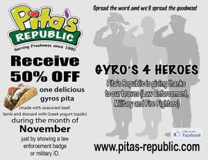 Gyro's 4 Heroes + Eat Fresh at Pita's Republic before the Holiday Binge