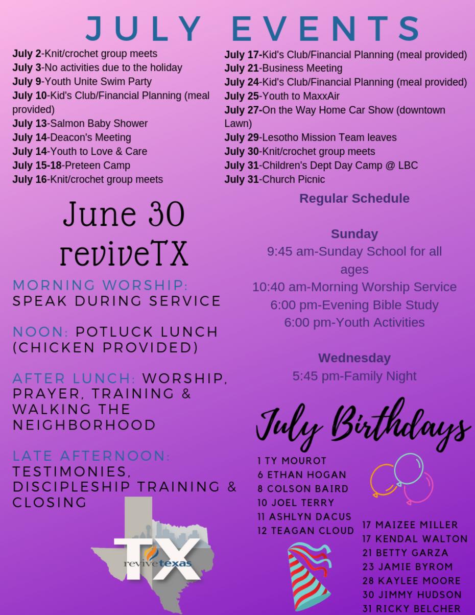 Lawn Baptist Church - July 2019