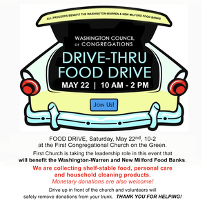 Drive-Thru Food Drive at First Congregational Church, Washington CT, May 22, 2021