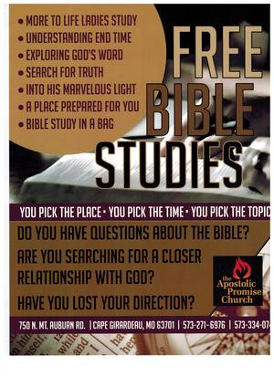 The Apostolic Promise Church - Ministries - Home Bible Study