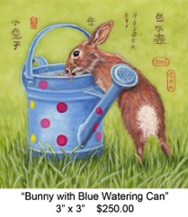 Bunny with Blue Watering Can c