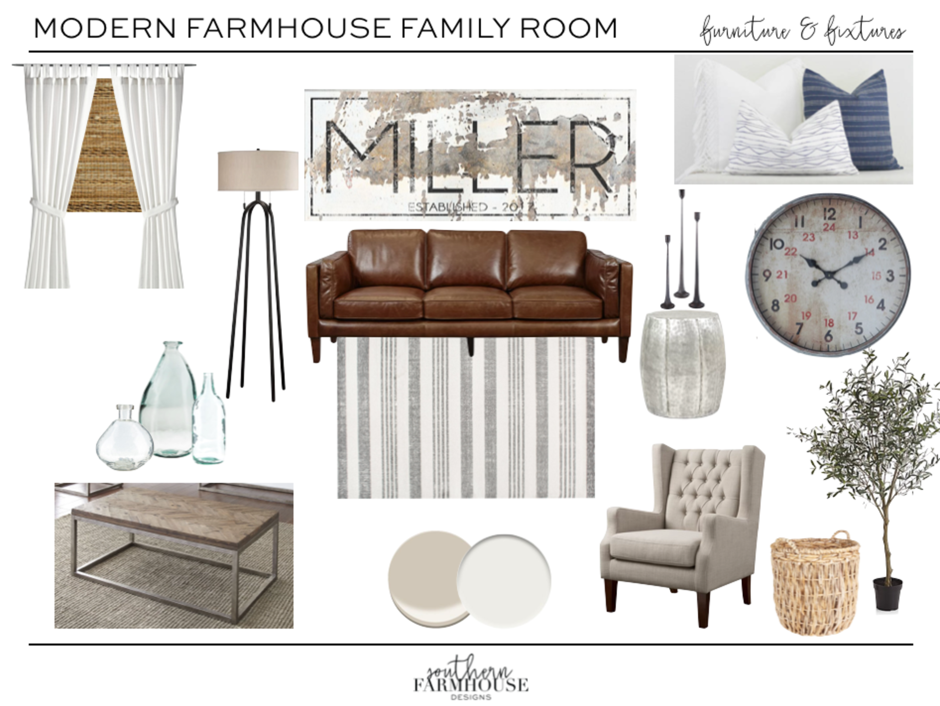 Modern Farmhouse Family Room.Purchase Design Package