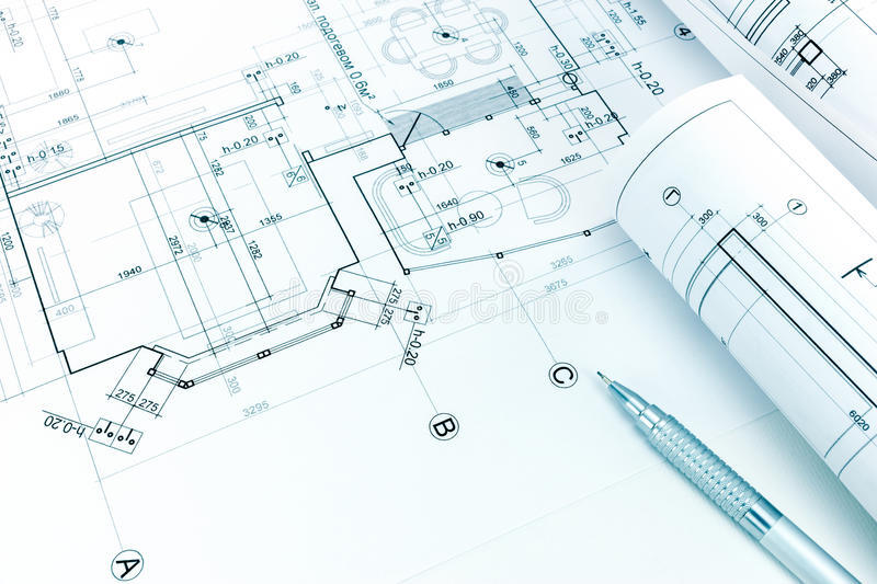 rolled-architectural-blueprints-pencil-floor-plan-drawing-mechanic-93665595.jpg
