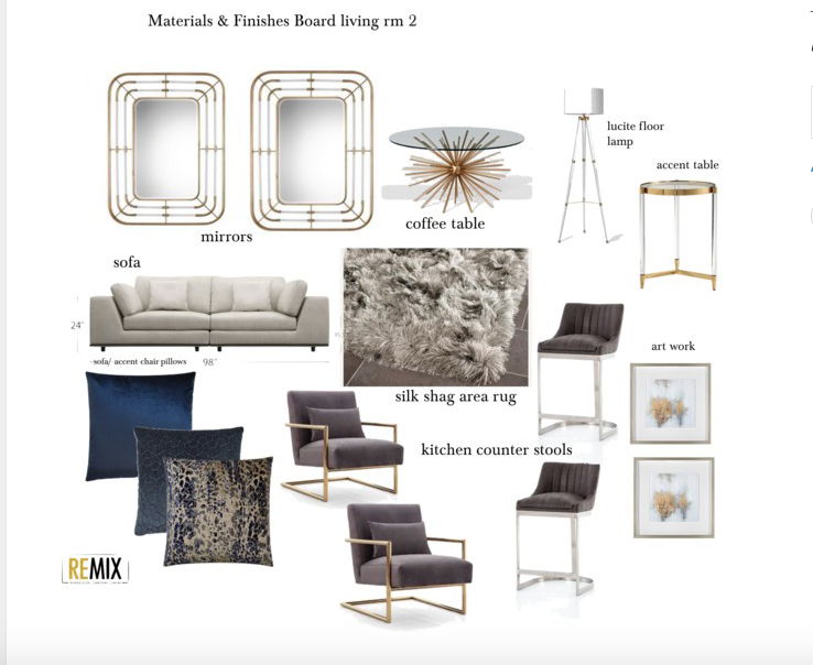 Living Room Materials and Finishes Board