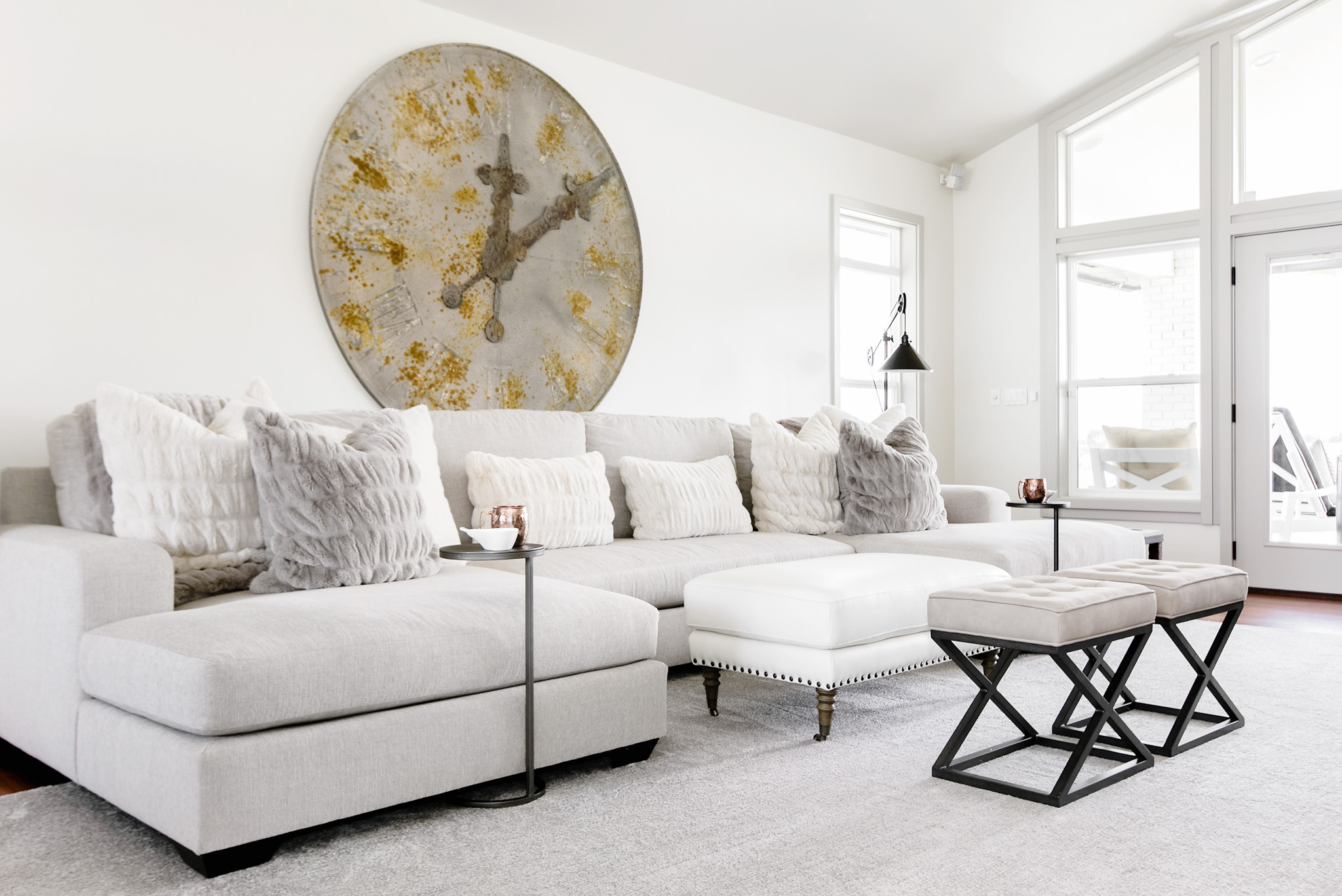 Casual Transitional White Living Room
