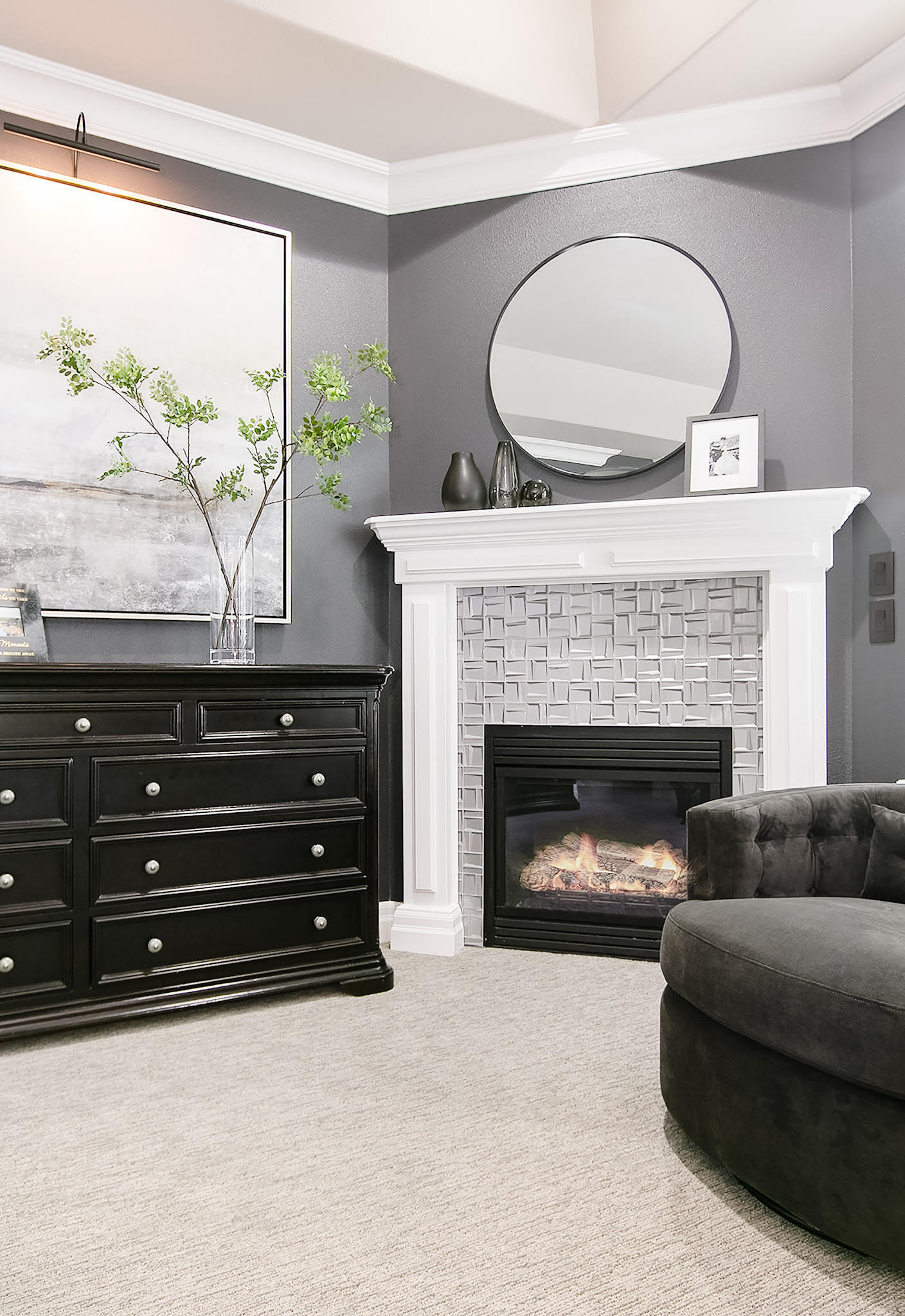 Transitional Glam Master Bedroom Gray Fireplace