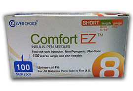 Clever Choice Comfort EZ Insulin Pen Needles – 31g – 5/16″ (8mm) 100/box -Sold by Box