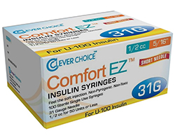 Clever Choice Comfort EZ Insulin Syringes 31g – 1/2cc – 5/16″ – 100/box – Sold by Box
