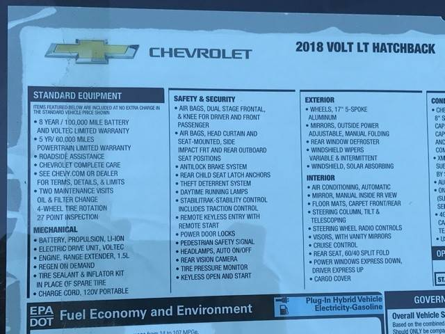 2018 Chevrolet VOLT 1G1RC6S57JU136705