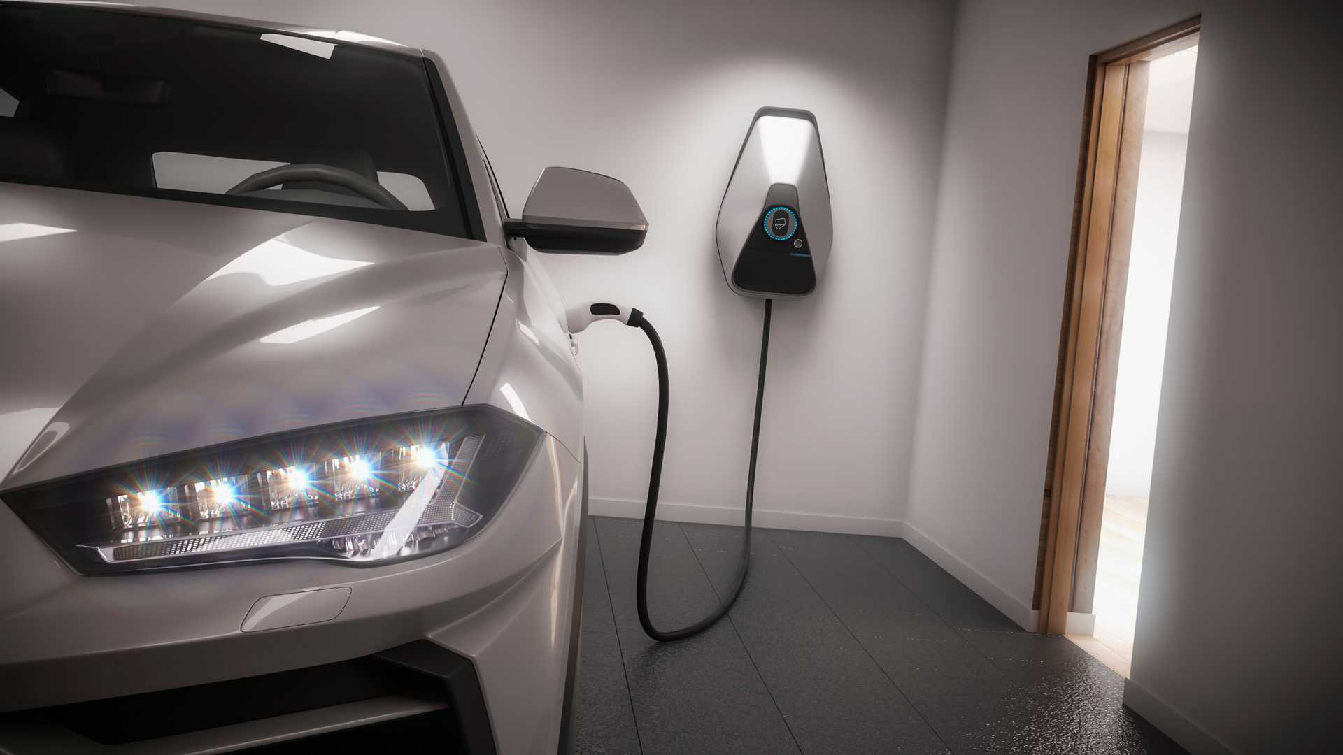 Charging electric car suv in garage illustration