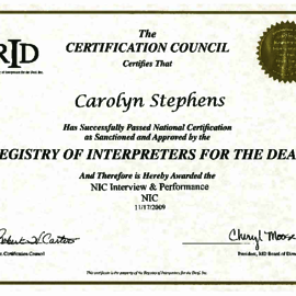 RID NIC Certification - Carolyn (Stephens) Scott