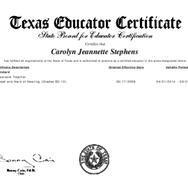 Texas State Board for Educator Certification, Deaf and Hard of Hearing - Carolyn (Stephens) Scott