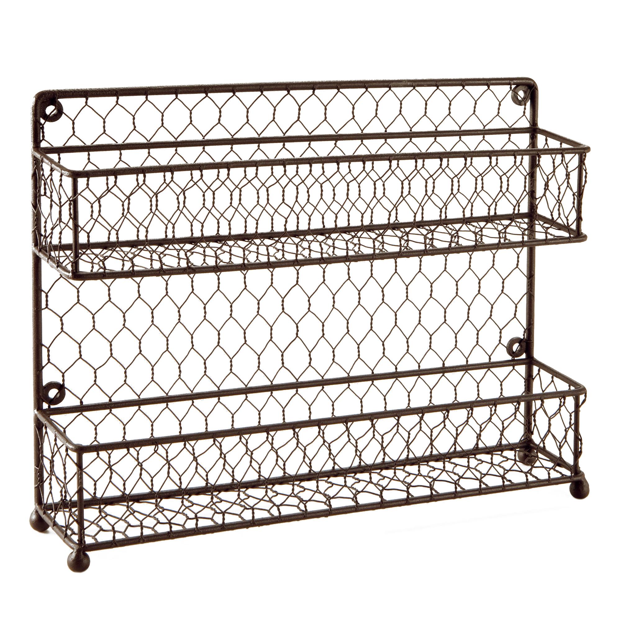 Rustic Brown Dual Tier Wire Spice Rack Jars Storage Organizer | eBay