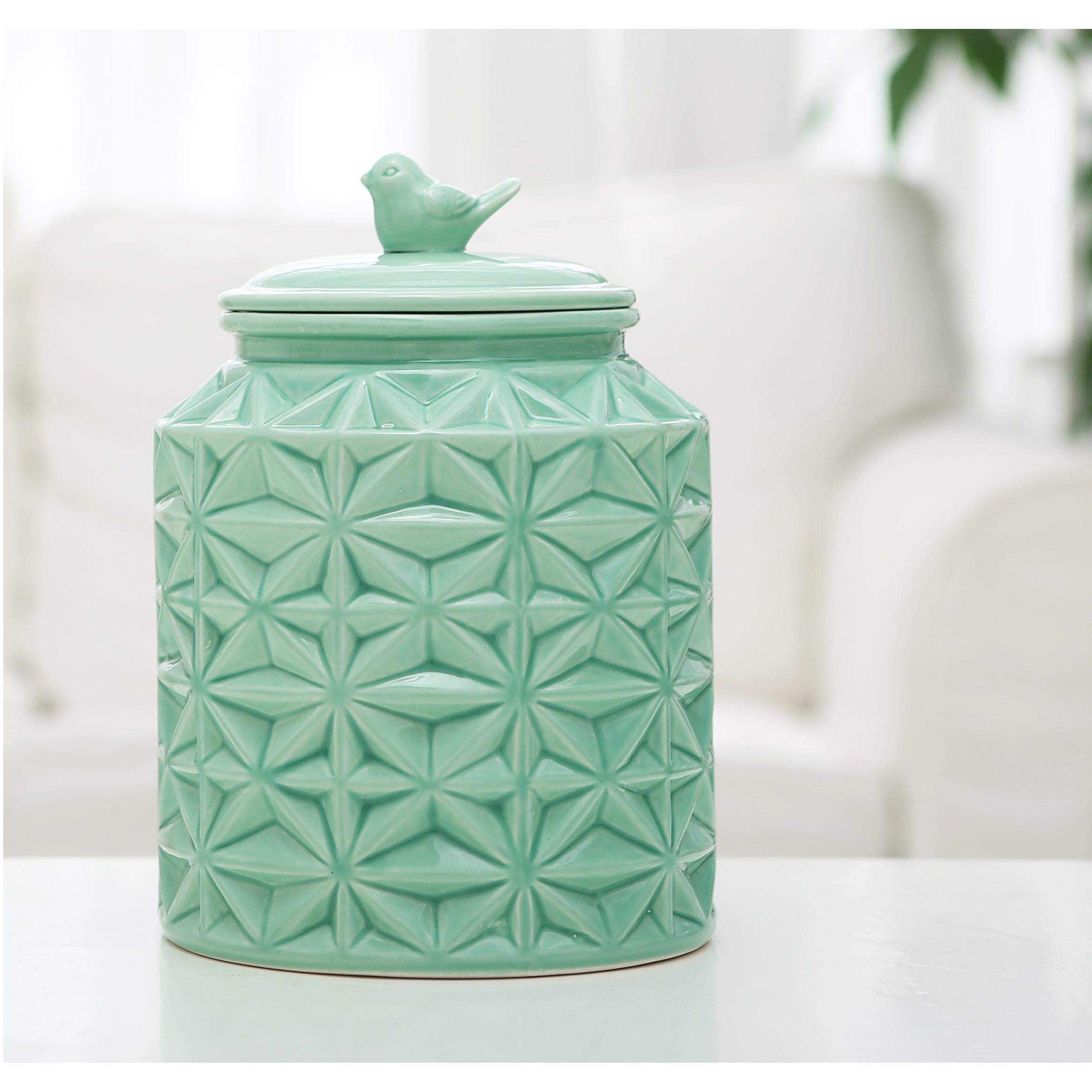 Turquoise Ceramic Kitchen Flour Canister Cookie Jar Abstract Star ...