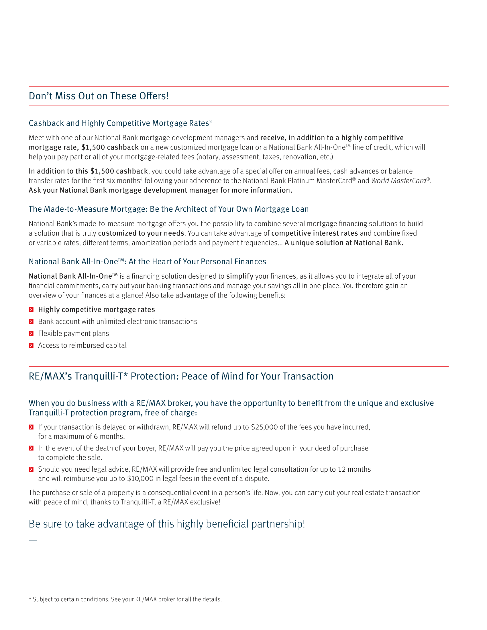"""3   Leaflet """"A Partnership with a Wealth of Advantages"""" - RE/MAX Traquili-t"""