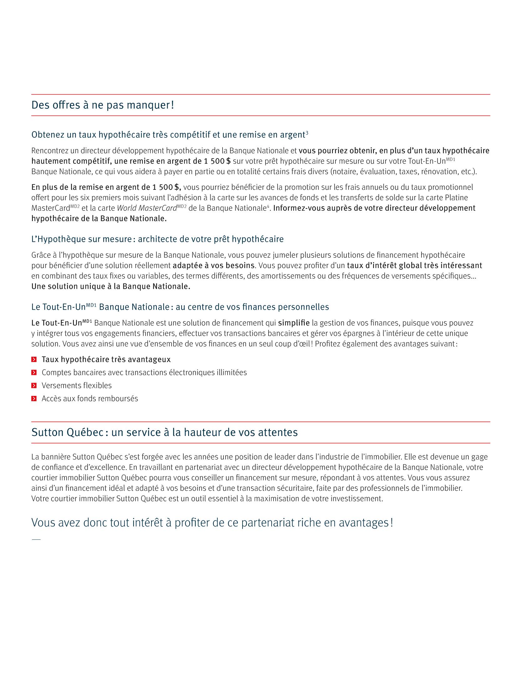 3 | Dépliant « Un partenariat riche en avantages » - Sutton