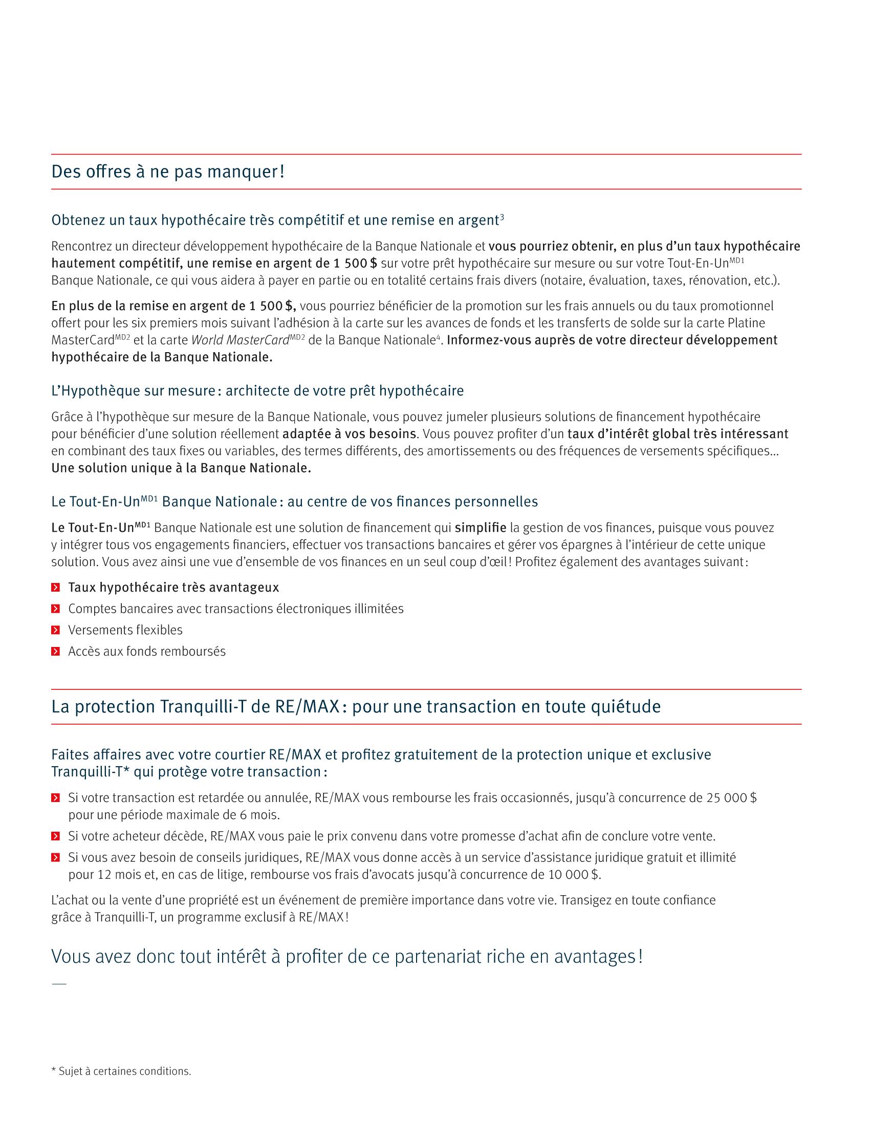 3 | Dépliant « Un partenariat riche en avantages » - RE/MAX Tranquili-t