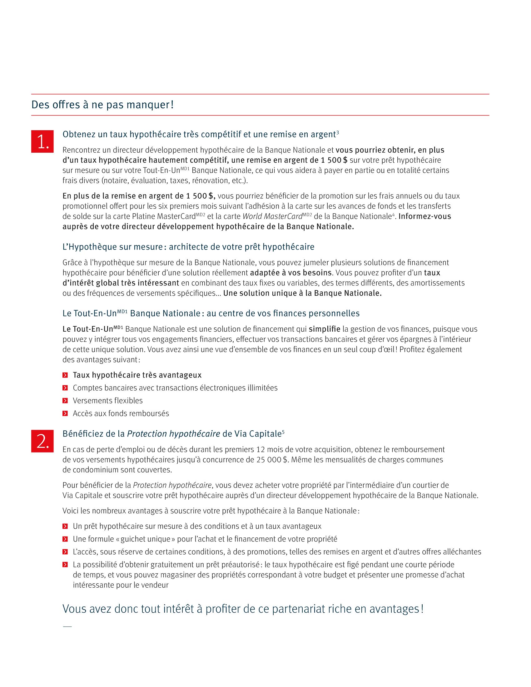 3 | Dépliant « Un partenariat riche en avantages » - Via Capitale