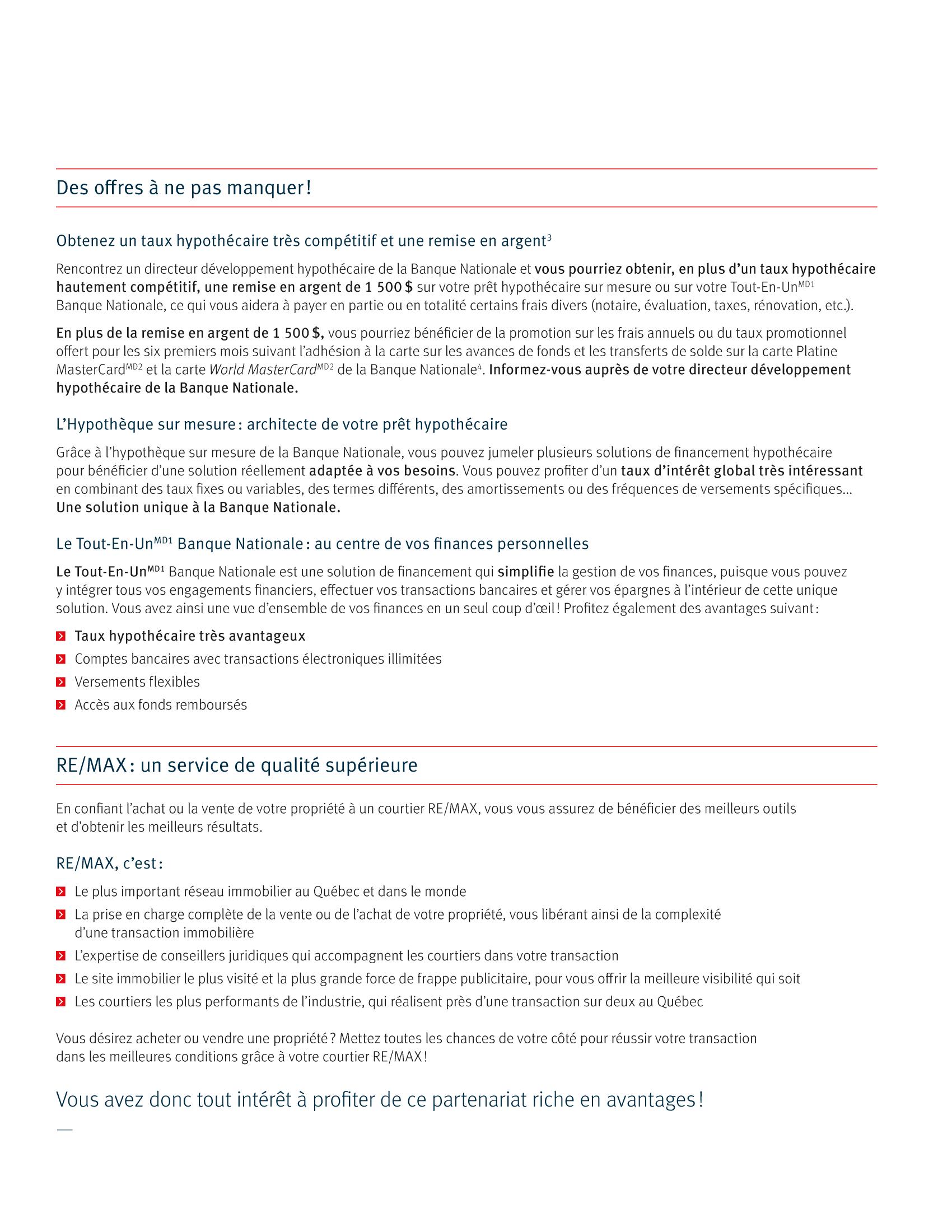 3 | Dépliant « Un partenariat riche en avantages » - RE/MAX