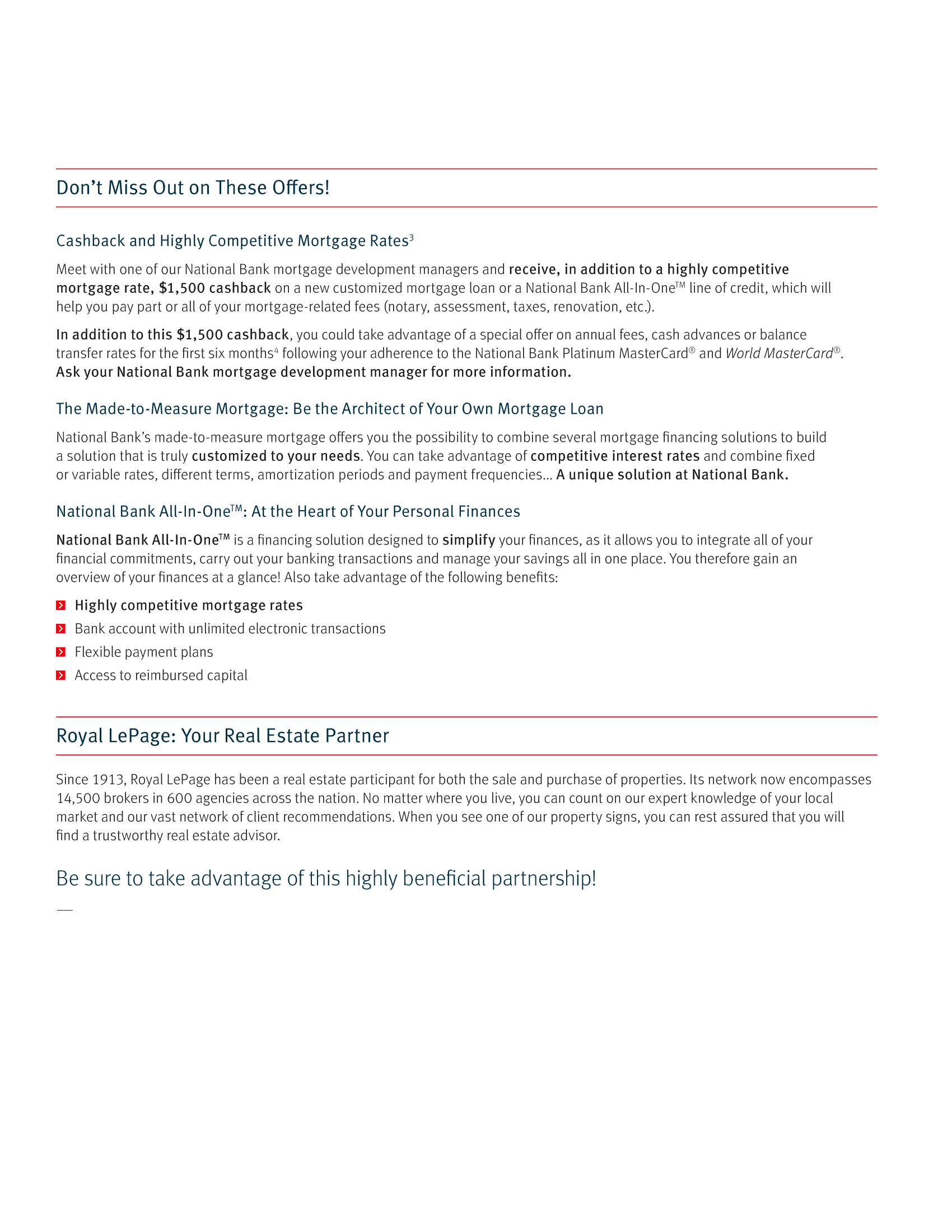 """3   Leaflet """"A Partnership with a Wealth of Advantages"""" - Royal Lepage"""
