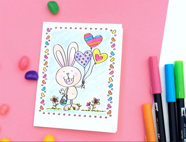 Easter Card Coloring Page