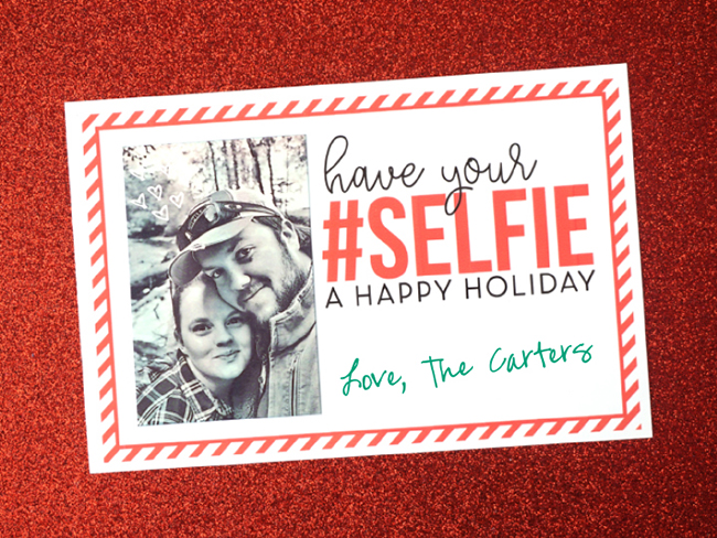 DIY Printable Holiday Selfie Card