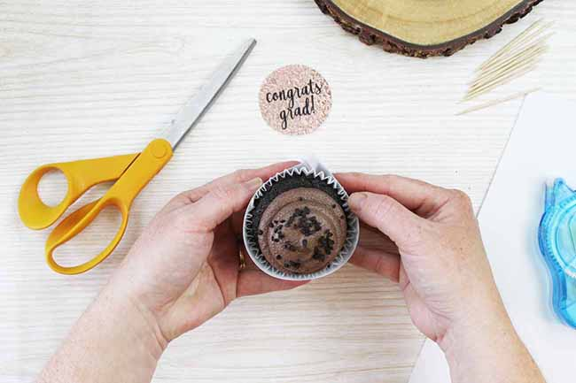 DIY Graduation Cupcake Wrappers and Toppers