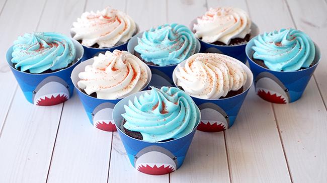 DIY Shark Week Cupcake Toppers & Wrappers