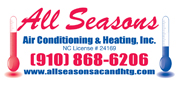 Website for All Seasons Air Conditioning & Heating Incorporated