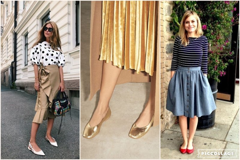 Midi skirt and flat shoes