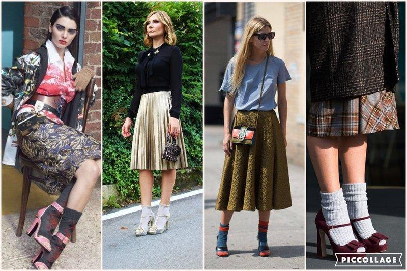 Midi skirts, sandal and socks
