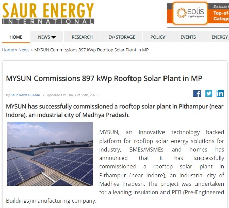 Rooftop solar plant in Pithampur